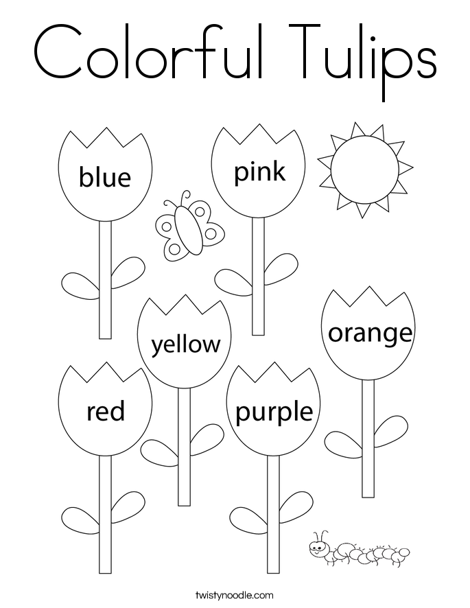 Colorful Tulips Coloring Page Twisty Noodle In 2021 Kindergarten Coloring Pages Spring Coloring Pages Family Coloring Pages