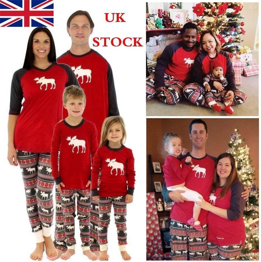UK Children Adult Family Matching Christmas Pajamas Sleepwear ...