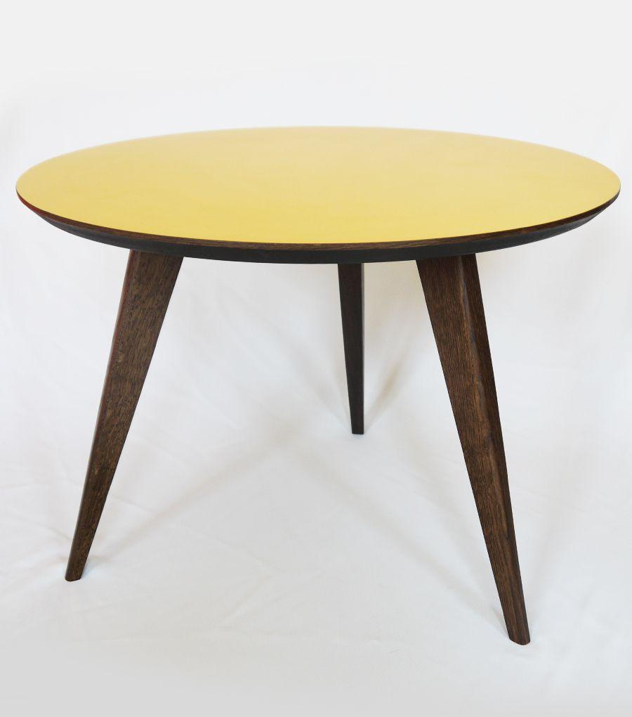 table basse tripode design vintage jaune - French Furniture ...