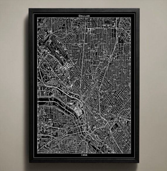 DALLAS Map Print, Black And White Dallas Wall Decor
