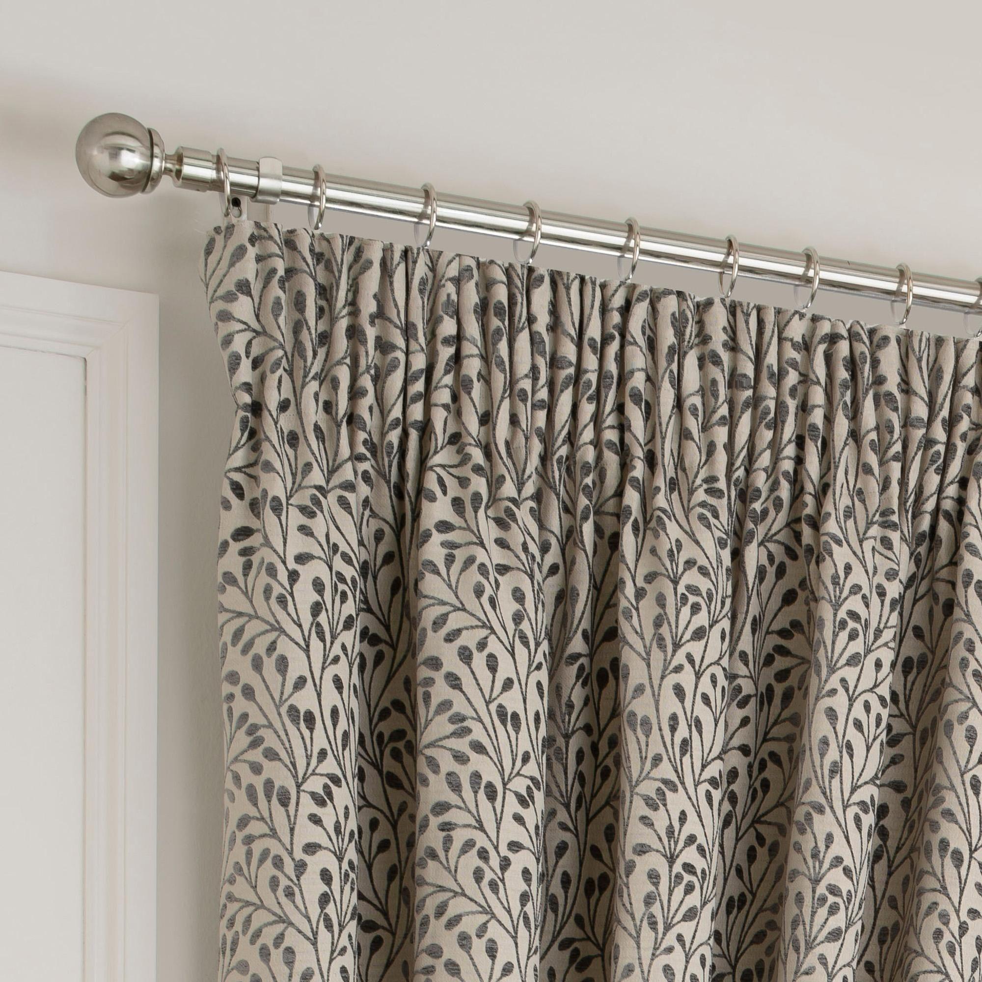 Dunelm Willow Grey Cotton Pencil Pleat Curtains (W 228cm