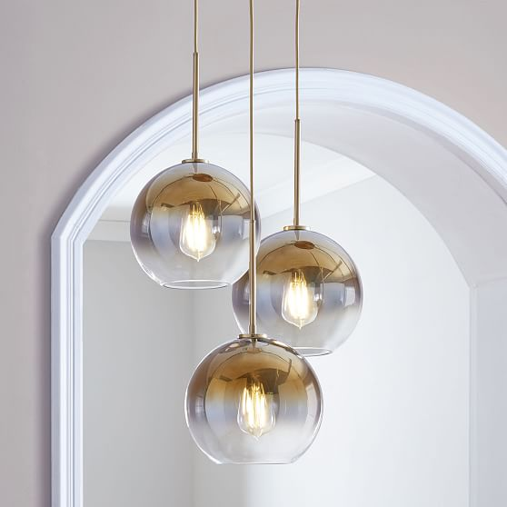 Sculptural Glass Globe 3 Light Chandelier Medium Gold Ombre