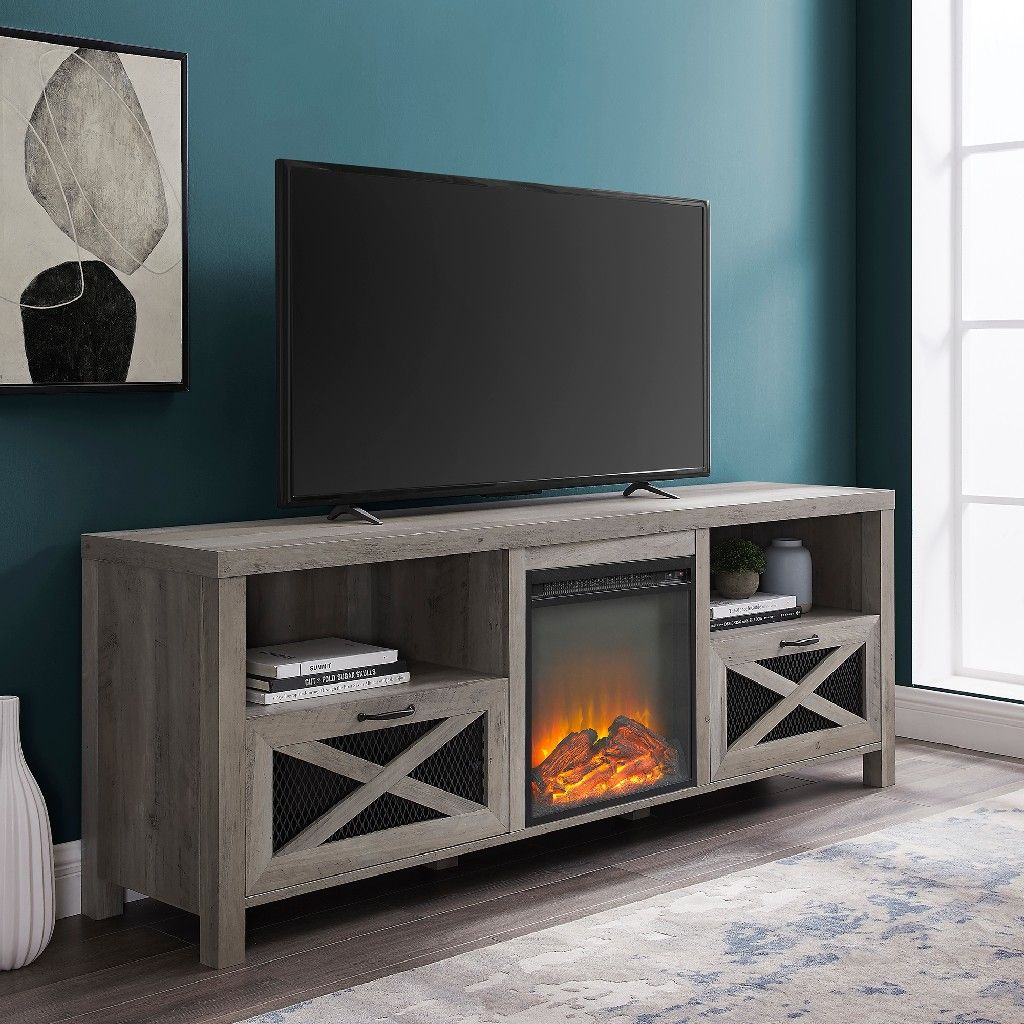 70 rustic farmhouse fireplace tv stand in grey wash