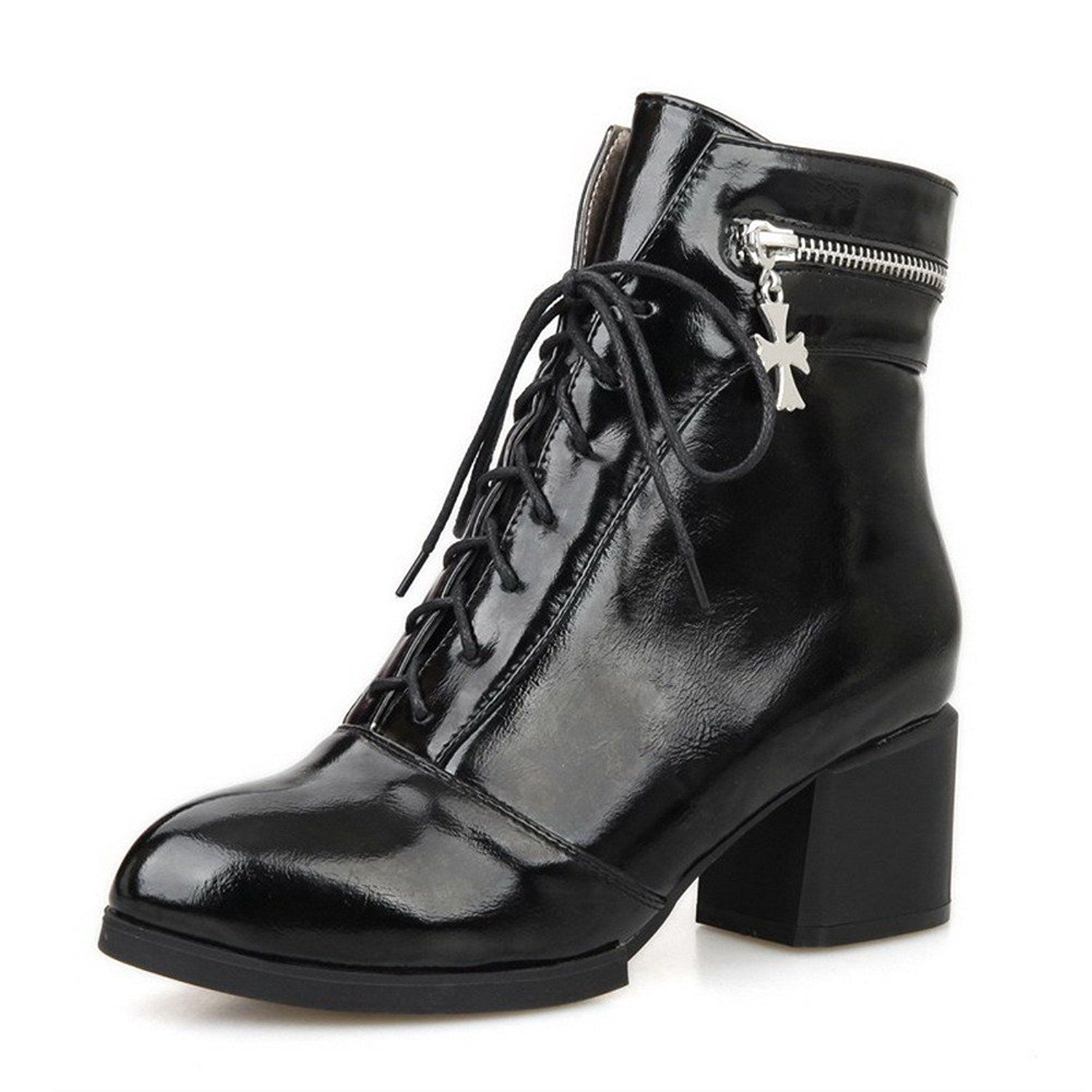 Maymeenth Women's PU Blend Materials Round Closed Toe Low-top Kitten-heels Boots *** Want to know more, click on the image.