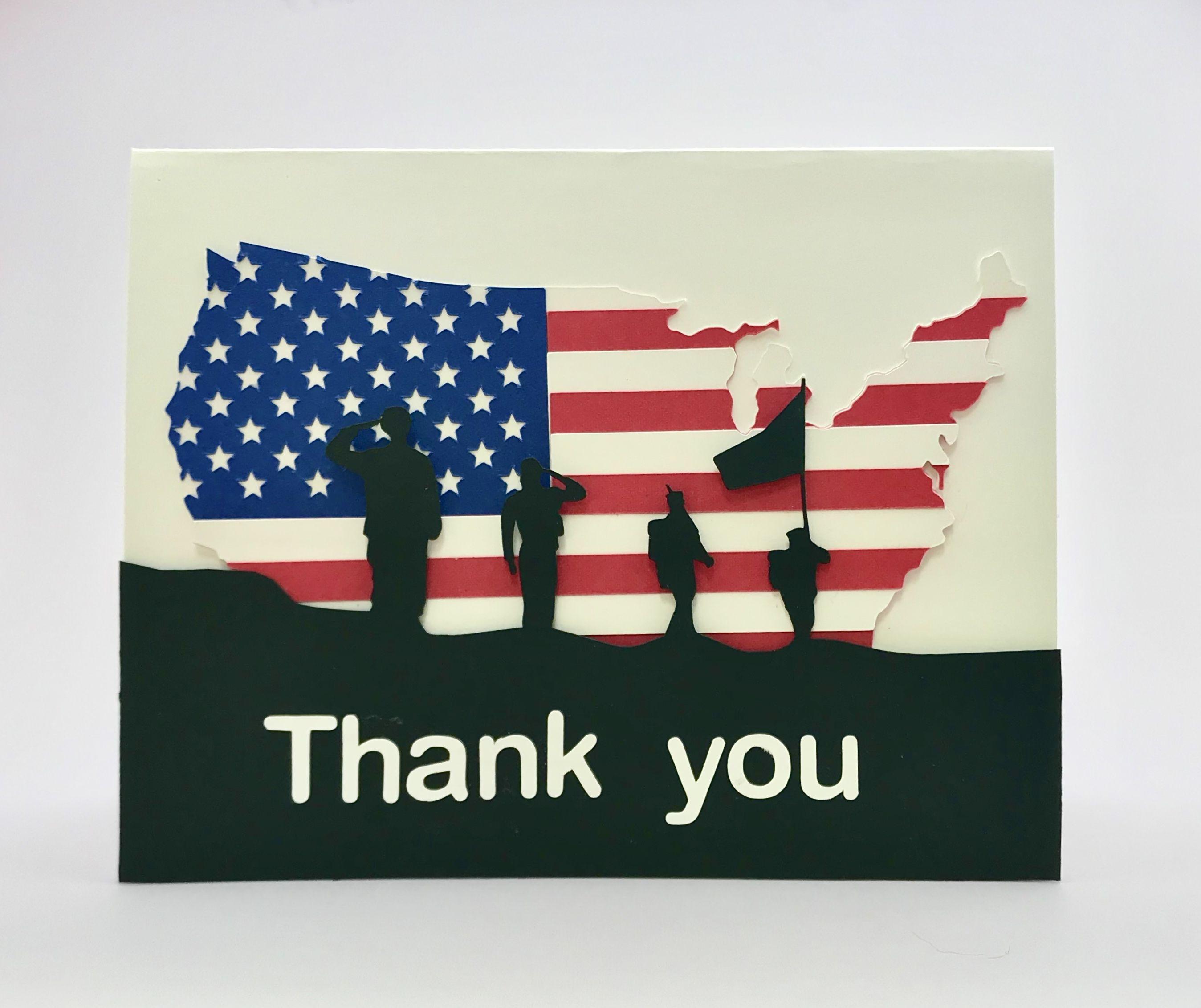 handmade patriotic card thank you veterans memorial day