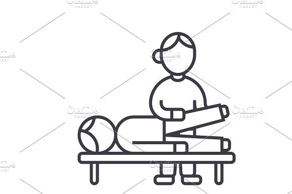 osteopathy,manual therapy,massage vector line icon, sign