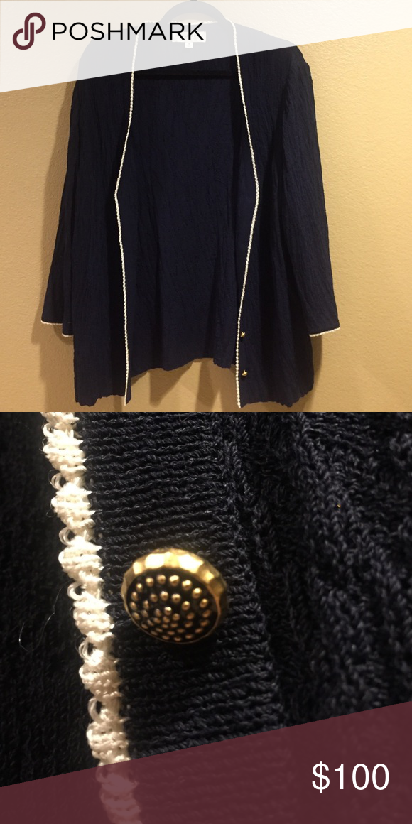 St. John Cardigan Sweater Navy and white!! Great condition!! St. John Sweaters Cardigans
