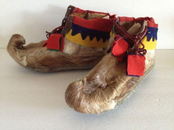Scandinavian Reindeer Boots Folk Art W Red Yellow Trim Wool Etsy Scandinavian Costume Sami Boots Patterns