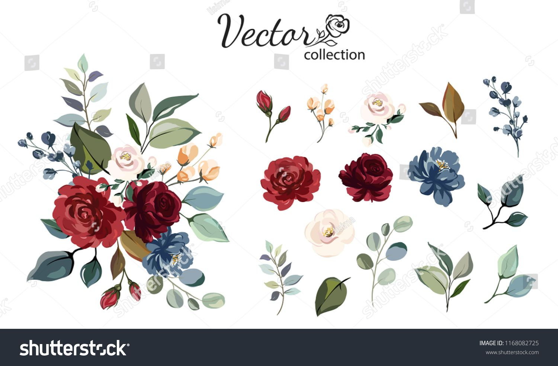 Set Of Floral Branch Flower Red Burgundy Navy Blue Rose Green