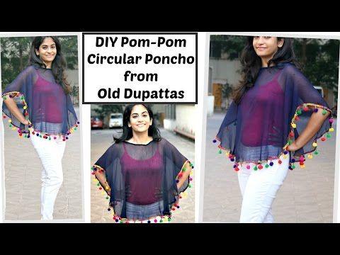 e676292c0f No Sew Pom-pom circular Poncho from old Dupatta ll Beach Cover up DIY ll  Reuse old dupattas ll - YouTube