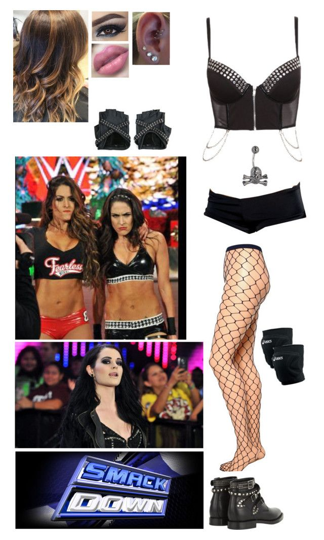 Divas Tag Team On Smackdown - Paige And Myself Verses The Bella Twins by alyssaclair-winchester on Polyvore featuring Emilio Cavallini, Yves Saint Laurent, Asics and WWE
