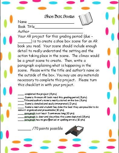Shoe Box Scene Book Report Language Arts Pinterest Language - cereal box book report sample