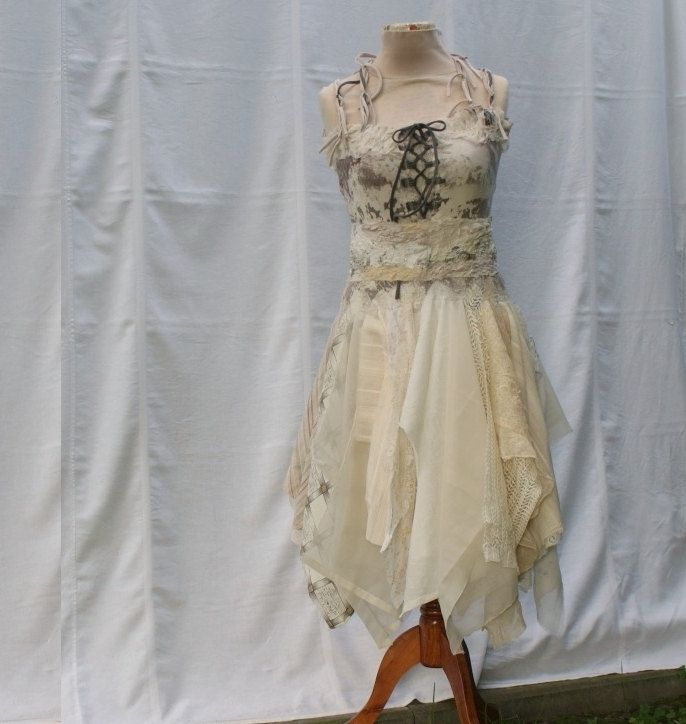 Mori Girl Natural Fairy Tattered Bridesmaid Dress Beige