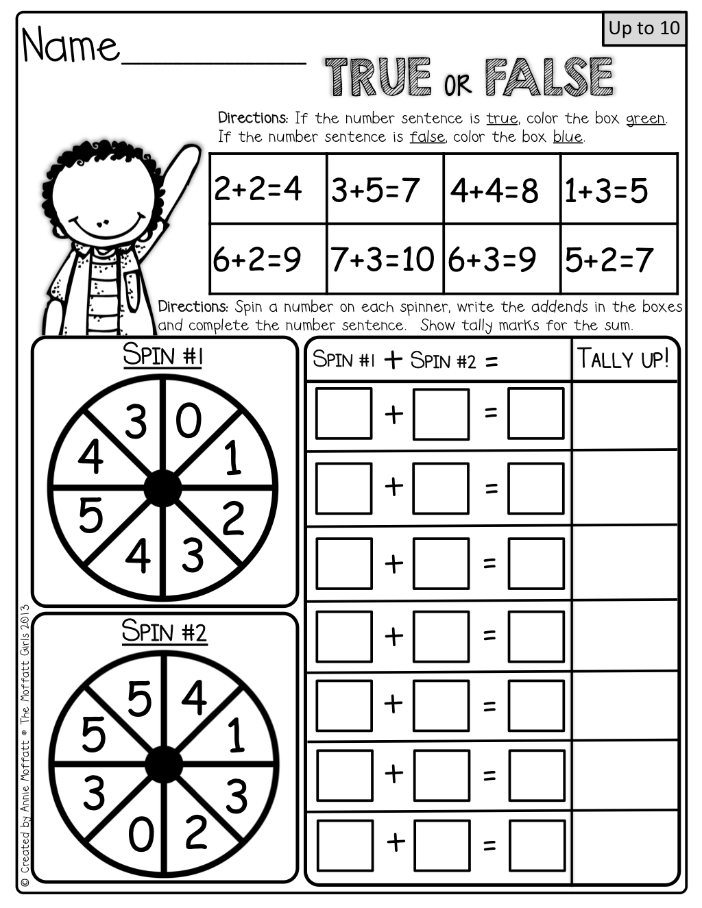Interactive Math! Color the True/False and spin the