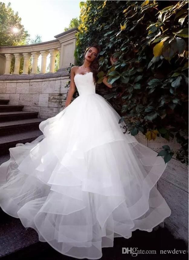 2019 Latest Strapless Wedding Dresses Ruched Tulle Sweep Train Corset Lace-Up Back Simple Bridal Gowns Custom Made Ball Gown Wedding Dresses - #dresses #latest #Ruched #strapless #sweep #tulle #wedding