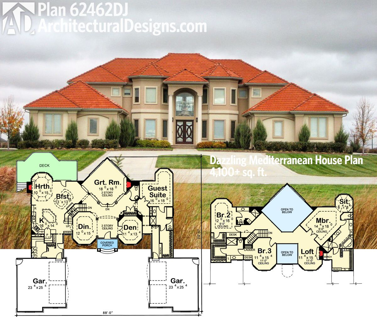 plan 62462dj dazzling mediterranean house plan bath house and