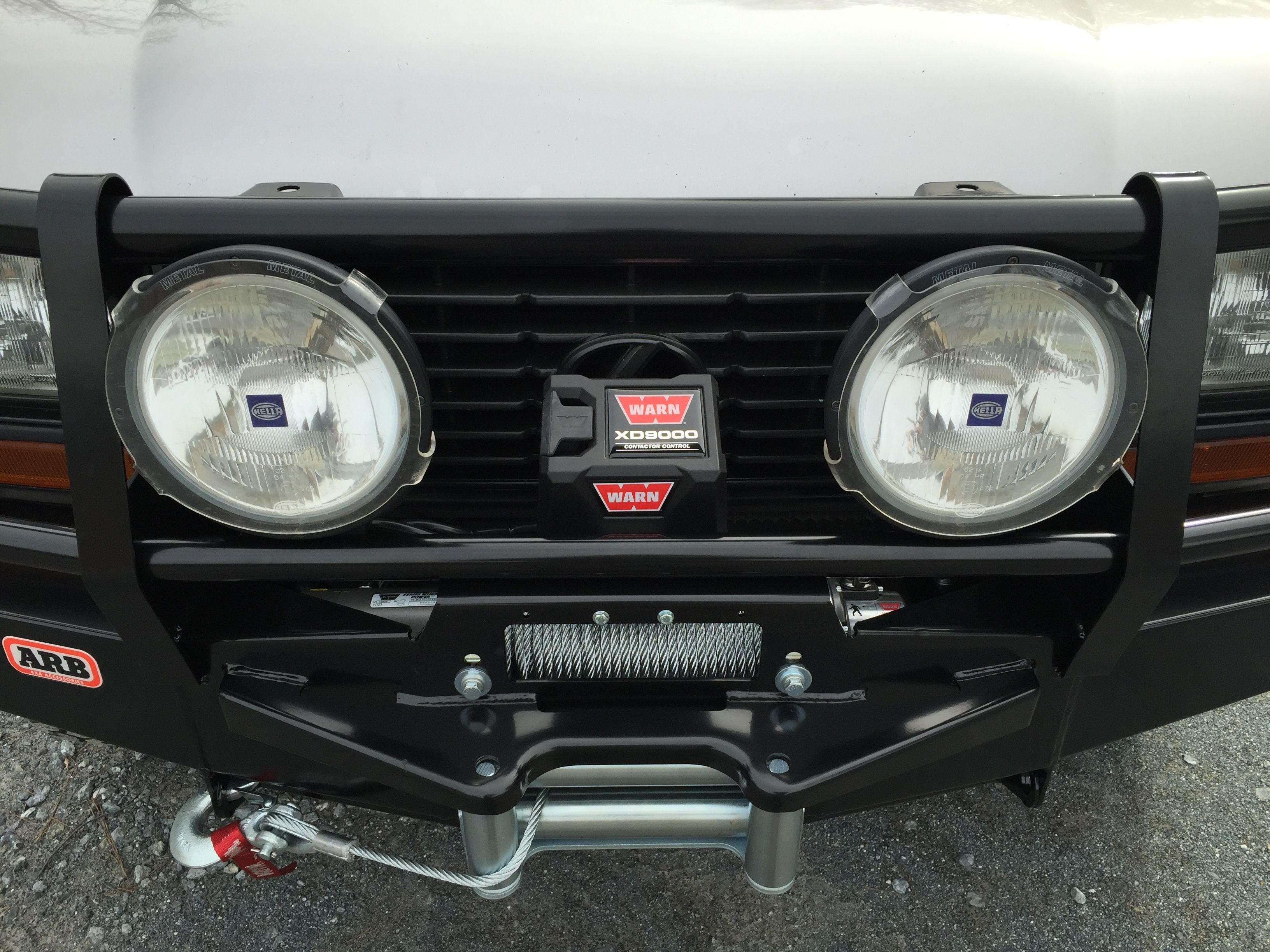 Warn xd9000 winch mounted on arb bull bar and hella 4000 euro beam warn xd9000 winch mounted on arb bull bar and hella 4000 euro beam auxiliary lights mozeypictures Images