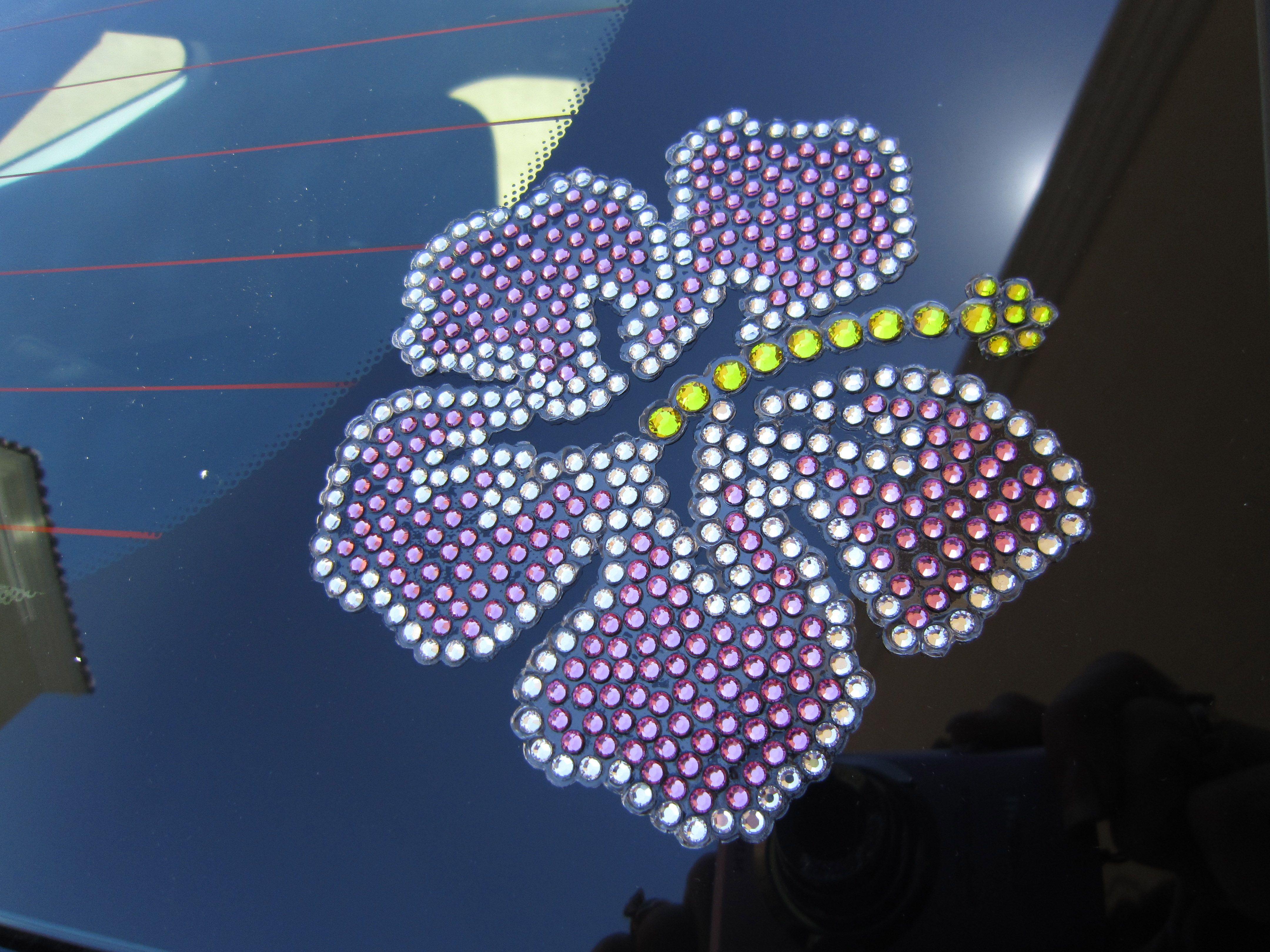 Hibiscus Flower Rhinestone Car Decal Custom Made By Bling - Custom car bling decals