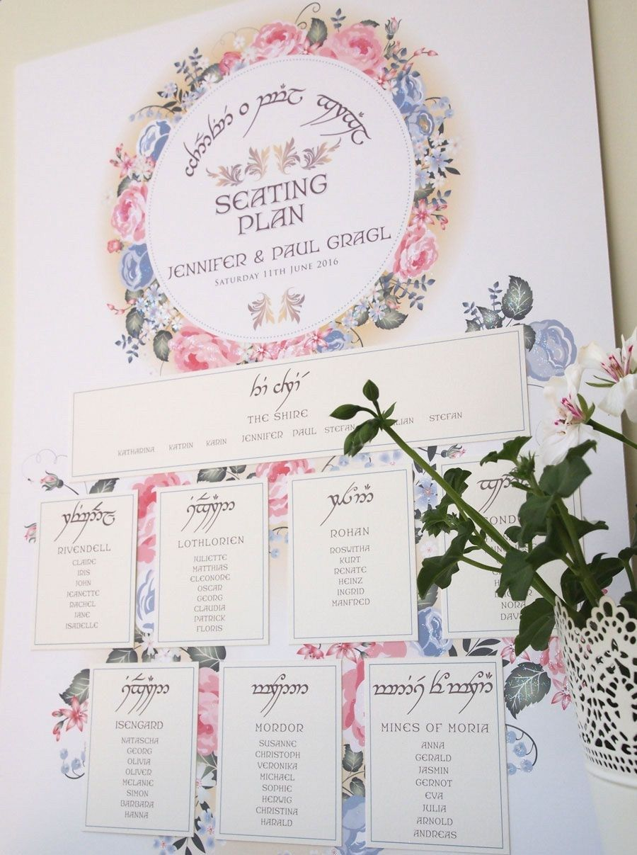 Elvish Wedding Seating Plan and Table Name Cards for a Lord of the ...