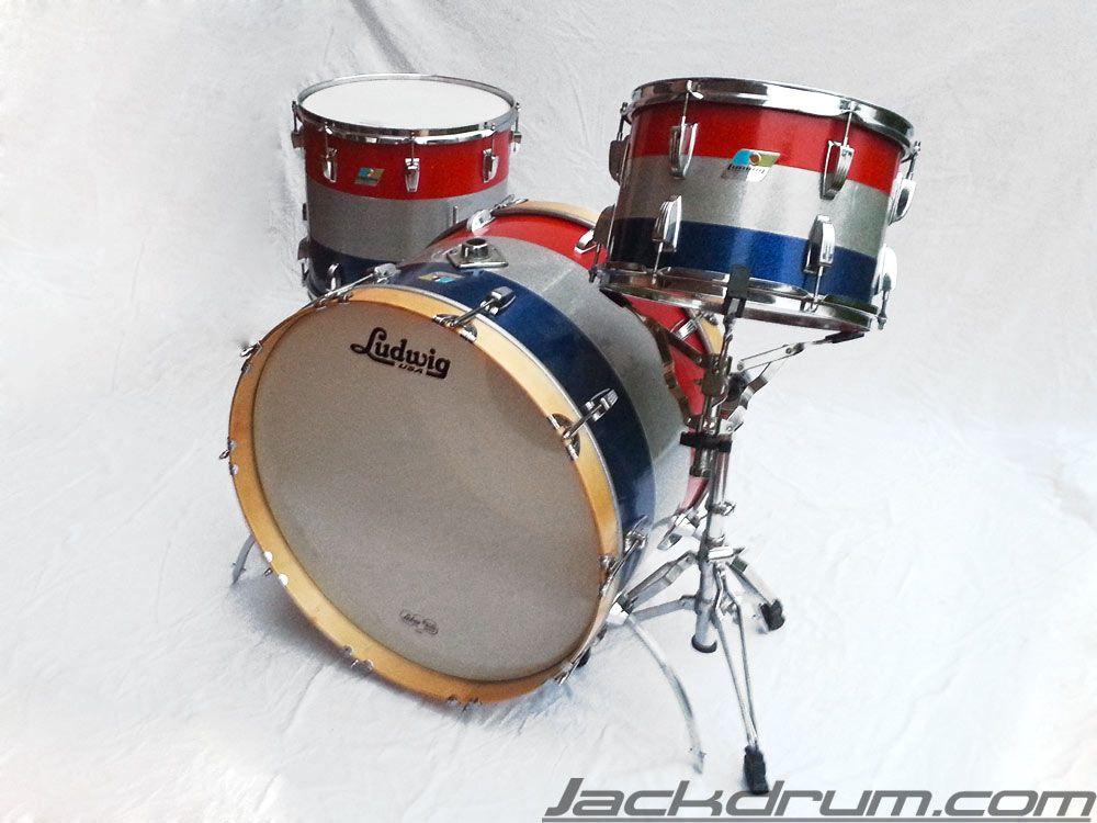 70 39 s vintage ludwig custom triband blue silver red sparkle drum set on sale vintage drums on. Black Bedroom Furniture Sets. Home Design Ideas