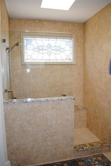 Showers W Out Doors Half Wall Shower Shower Remodel Bath