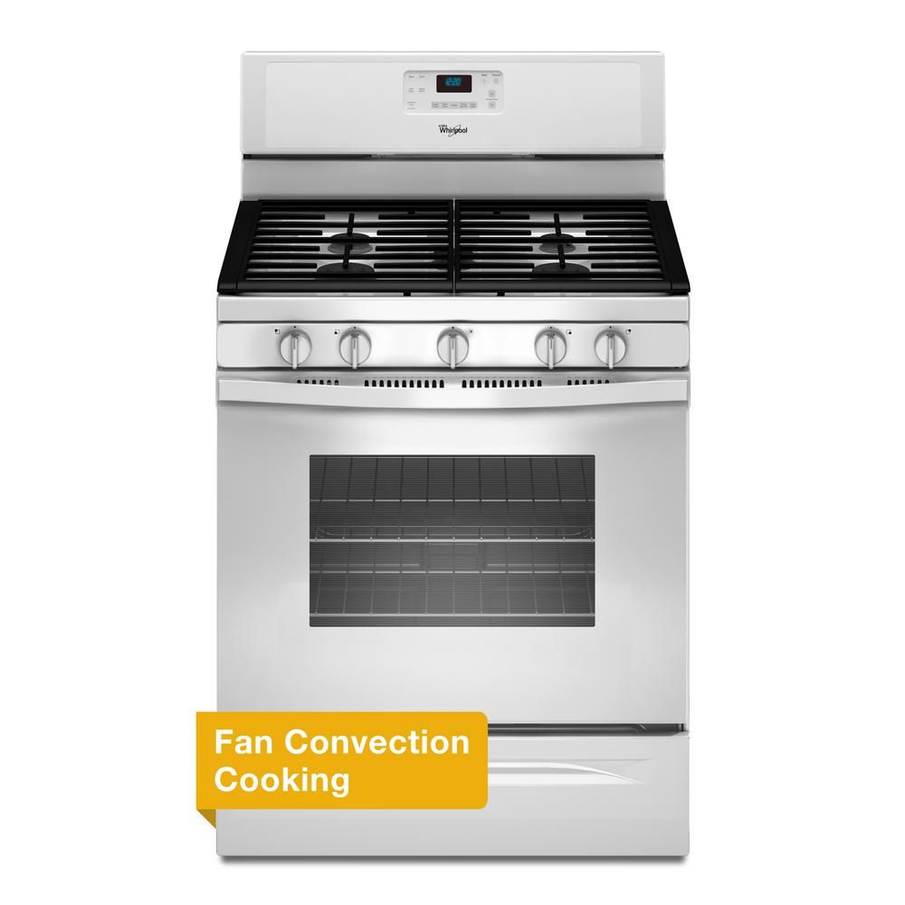 Whirlpool 30 In 5 0 Cu Ft Gas Range With Self Cleaning Convection Oven In White Gas Range Self Cleaning Ovens Oven Cleaning