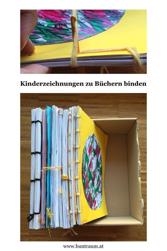 Kinderzeichnungen zu Büchern binden - Buntraum