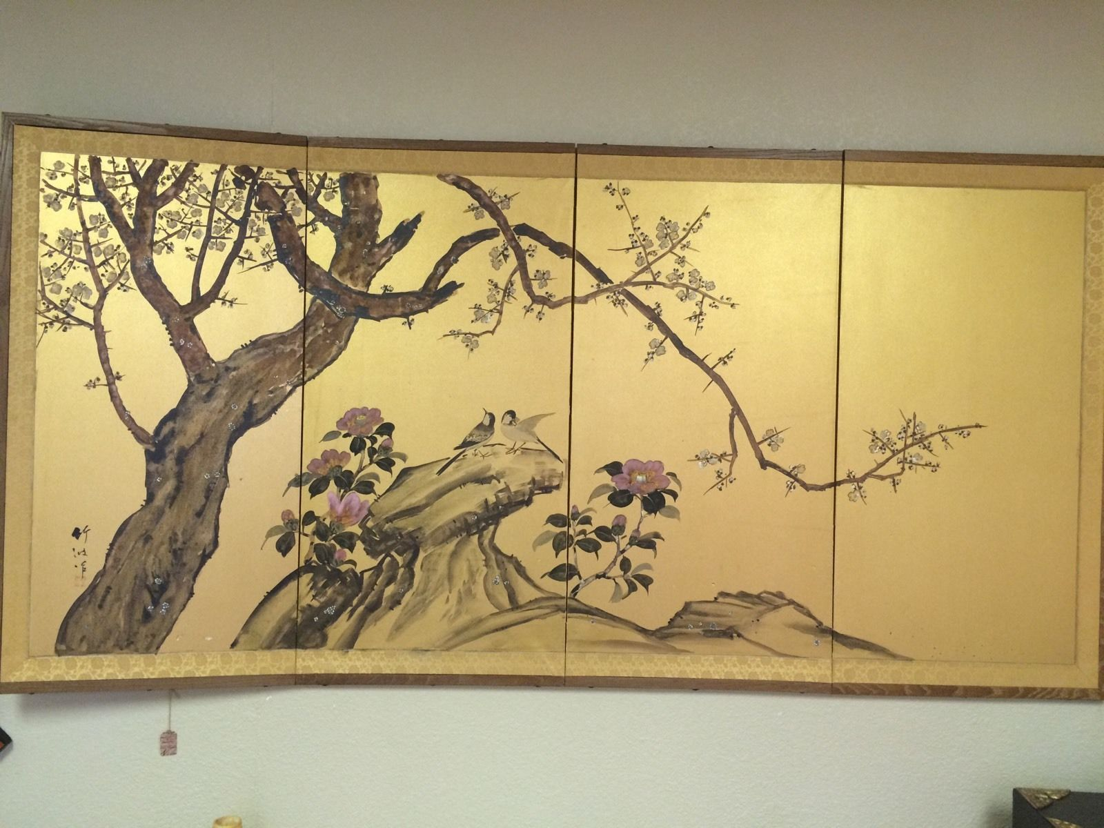 VINTAGE JAPANESE ASIAN SIGNED 4 PANEL FOLDING WALL ART SILK PAINTED ...