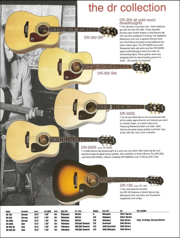 Epiphone Dr Acoustic Dreadnought Guitar Ad 8 X 11 Advertisement With Specs Epiphone Epiphone Guitar Epiphone Acoustic Guitar