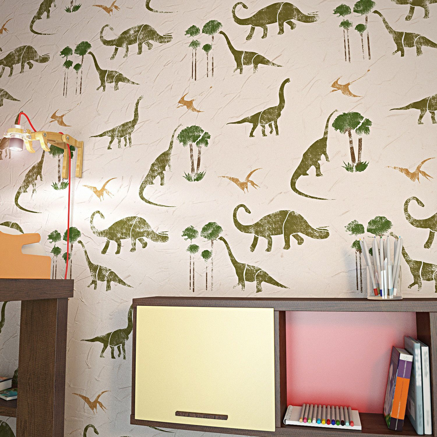 Dinosaurs wall stencil for kids room decor nursery wall dinosaurs wall stencil for kids room decor nursery wall stencils amipublicfo Image collections