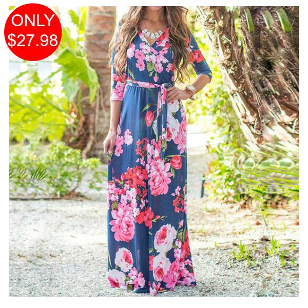 Frauen Floral Sommer Herbst Kleider 3//4 Ärmel Langes Kleid Boho Maxi Beach Kleid
