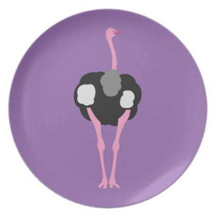 Ostrich Bird Plate - animal gift ideas animals and pets diy customize