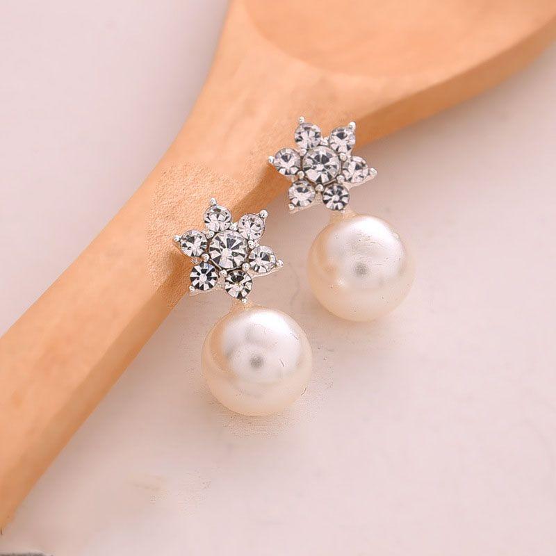 Vintage Femmes Or Rose fleur de perle oreille Stud Dangle Earrings Fashion Jewelry