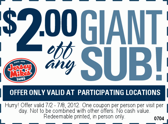photo regarding Jersey Mike's Printable Coupon identified as $2 dollars off your huge sub at Jersey Mikes The Discount coupons