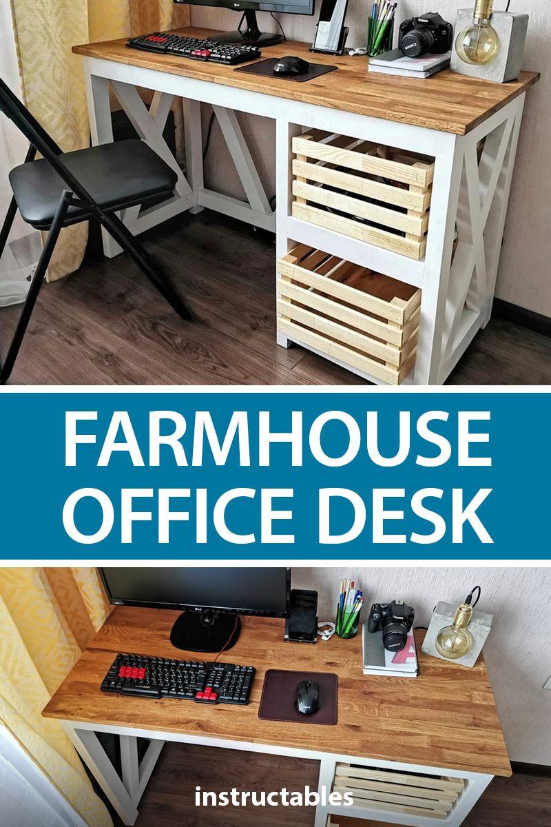 Farmhouse x office desk diy storage diy furniture