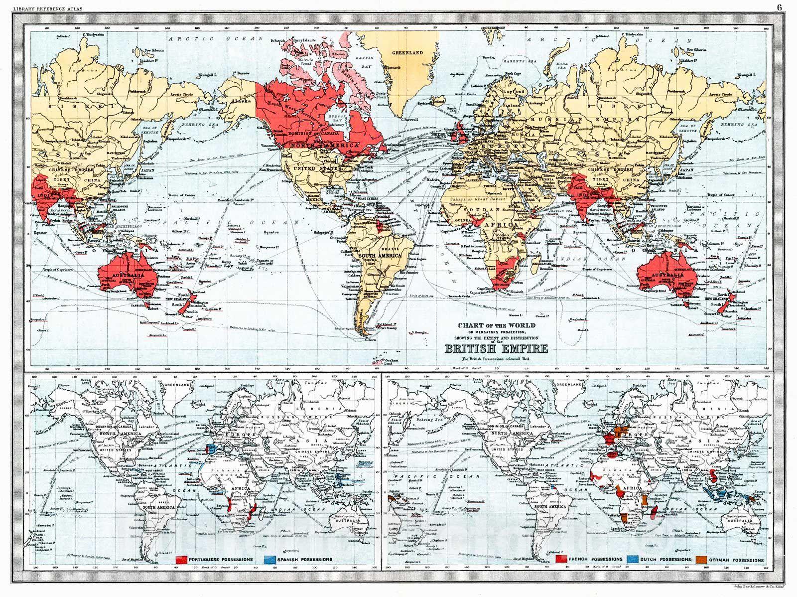 Historic map 1890 chart of the world on mercators