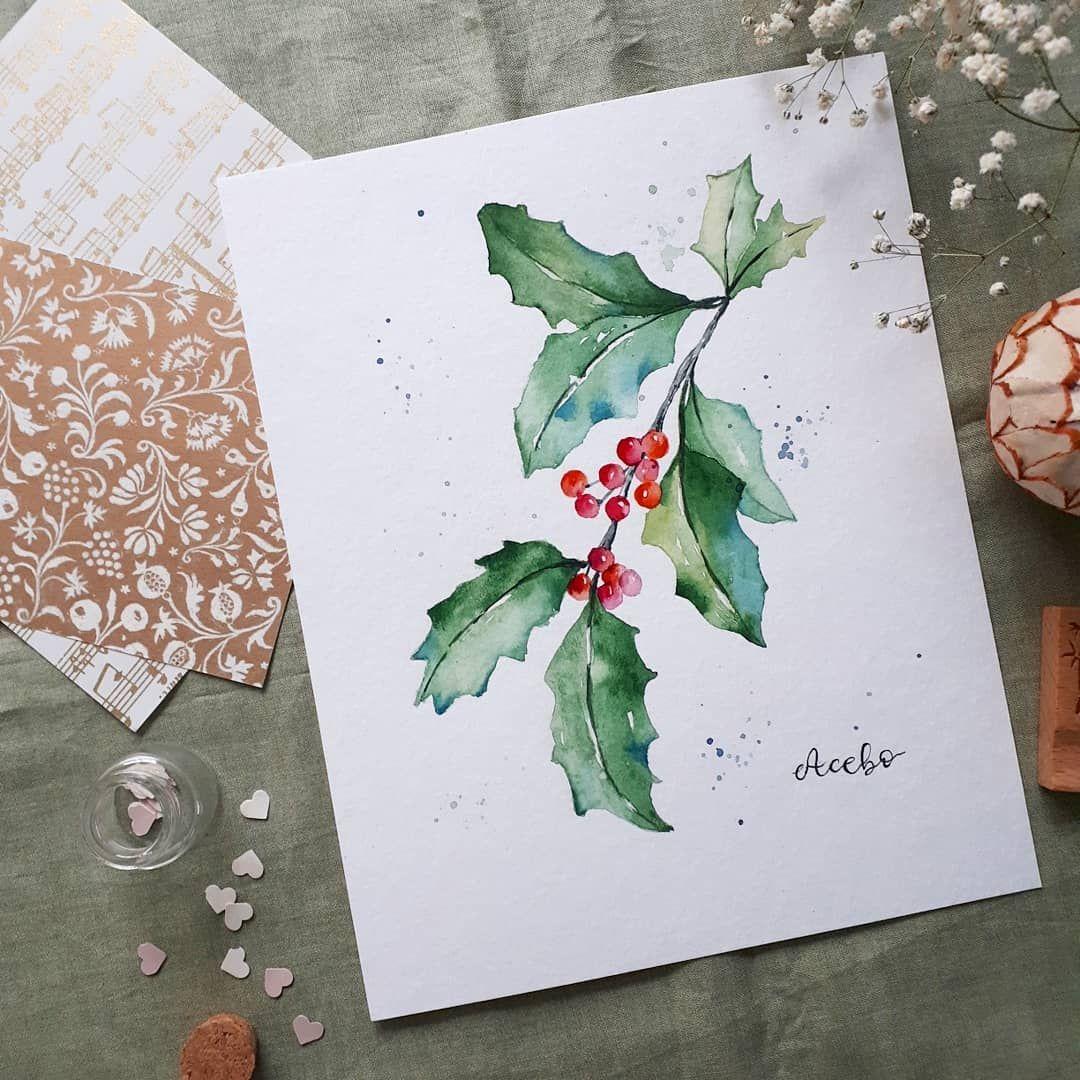 Bienvenido Acebo Y Es Que Despues De Dibujar Ramitas De Muerdago Y De Pino To Watercolor Christmas Cards Watercolor Christmas Tree Christmas Watercolor
