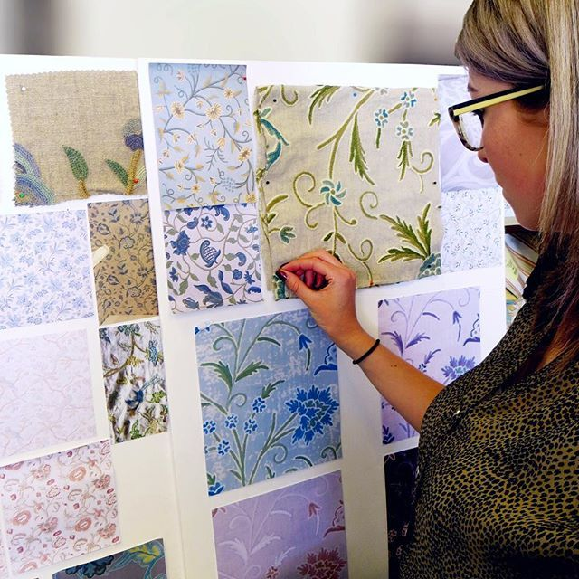 Our in house design team busy working on some new ideas marvictextiles textiledesign crewel crewelwork embroidery countryhouseinteriors also rh pinterest