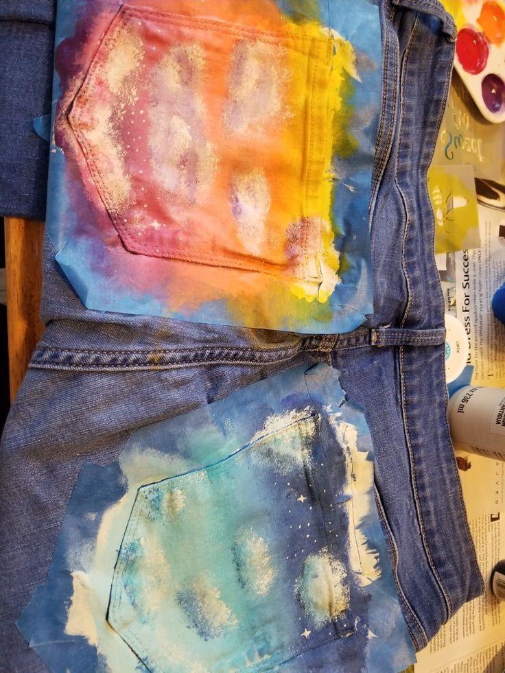 Jean Pocket Gemälde  #gemalde #pocket #diyclothes Jean Pocket Gemälde