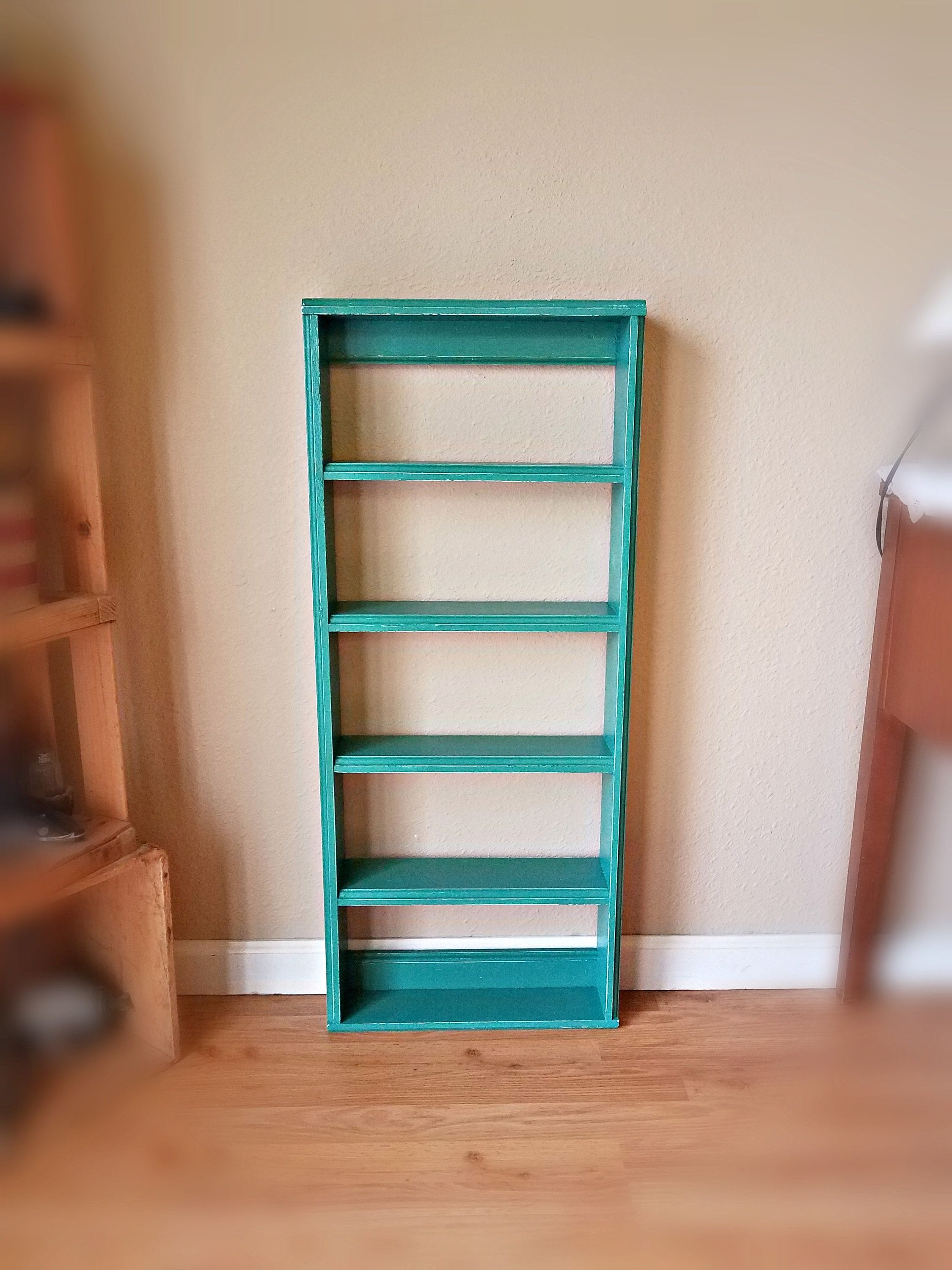 Wooden wall ladder shelf in teal distressed finish rectangle wall