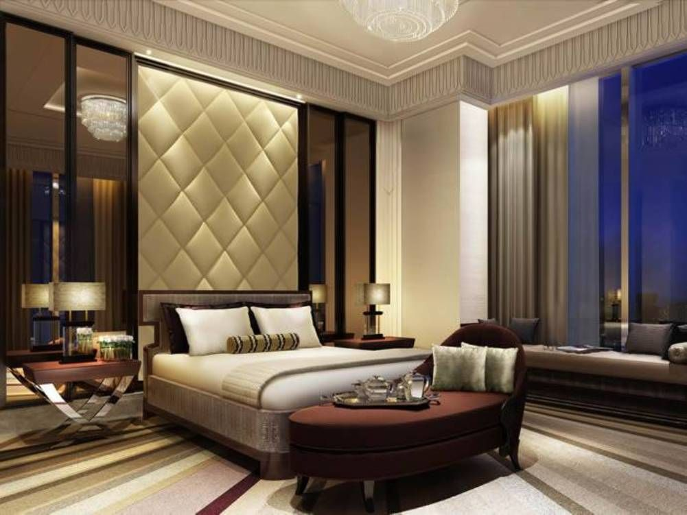 Spa Style Master Bedroom With High Ceiling And