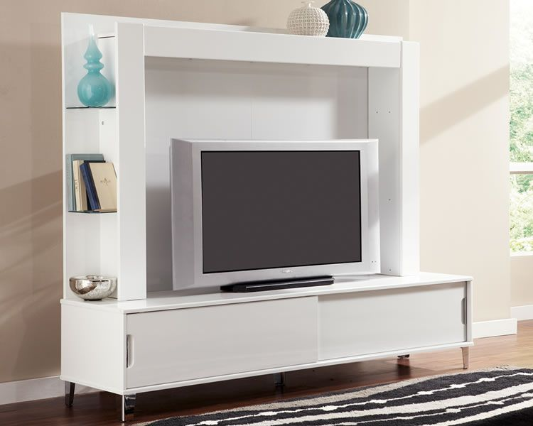 White 80 inch TV Stand with Back Panel and Shelves Live