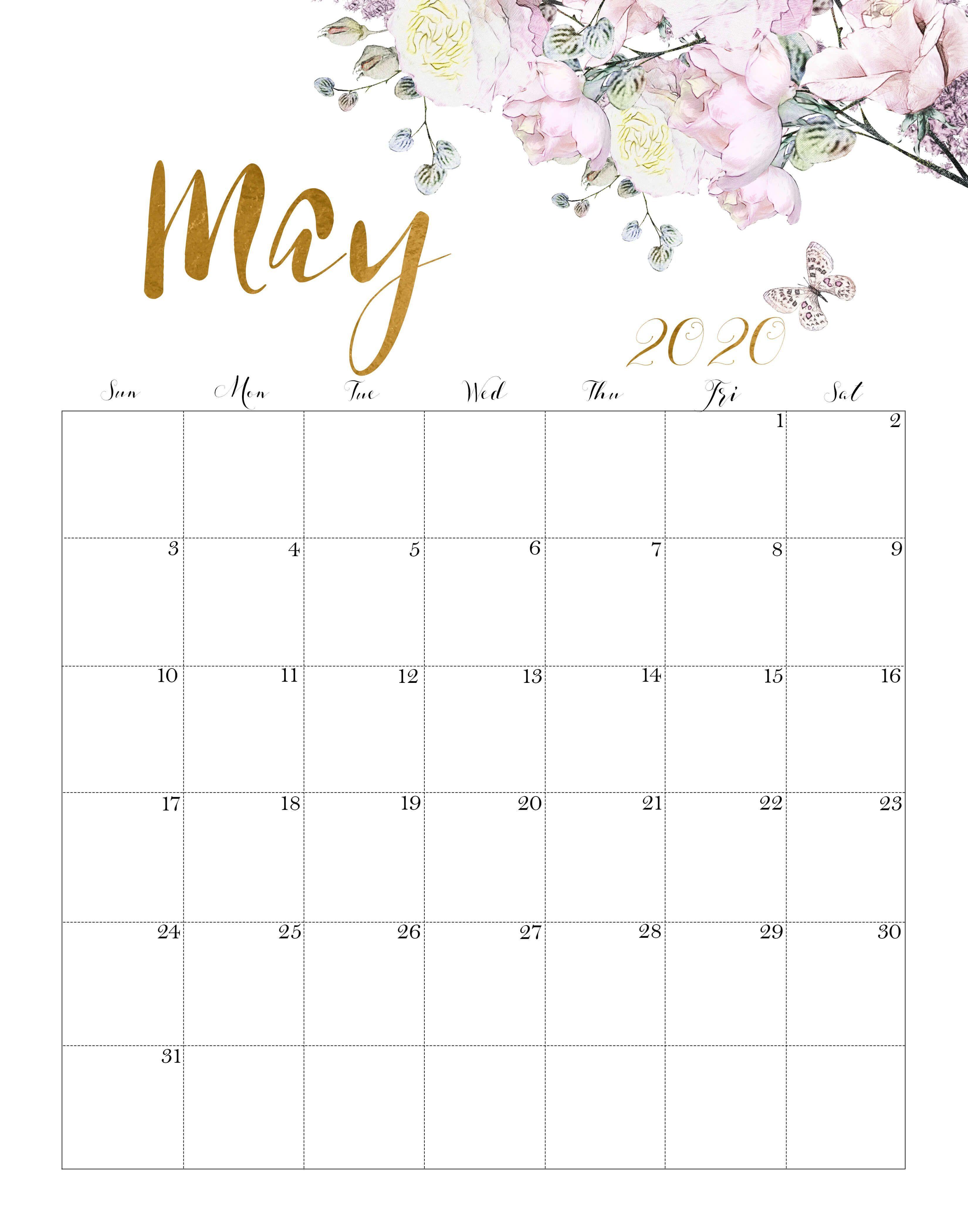 Floral May 2020 Calendar Cute | Calendar wallpaper, Print calendar