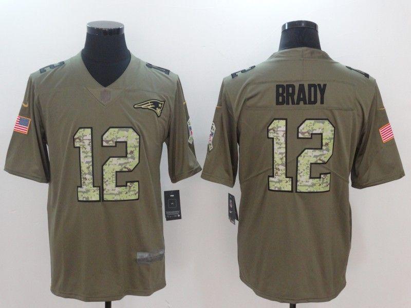 3b5019750 Men New England Patriots 12 Brady Camo Nike Olive Salute To Service Limited  NFL Jerseys