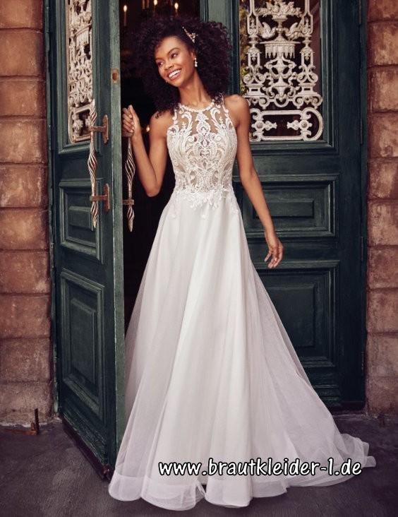langes chiffon standesamt kleid hochzeitskleid in weiß mit