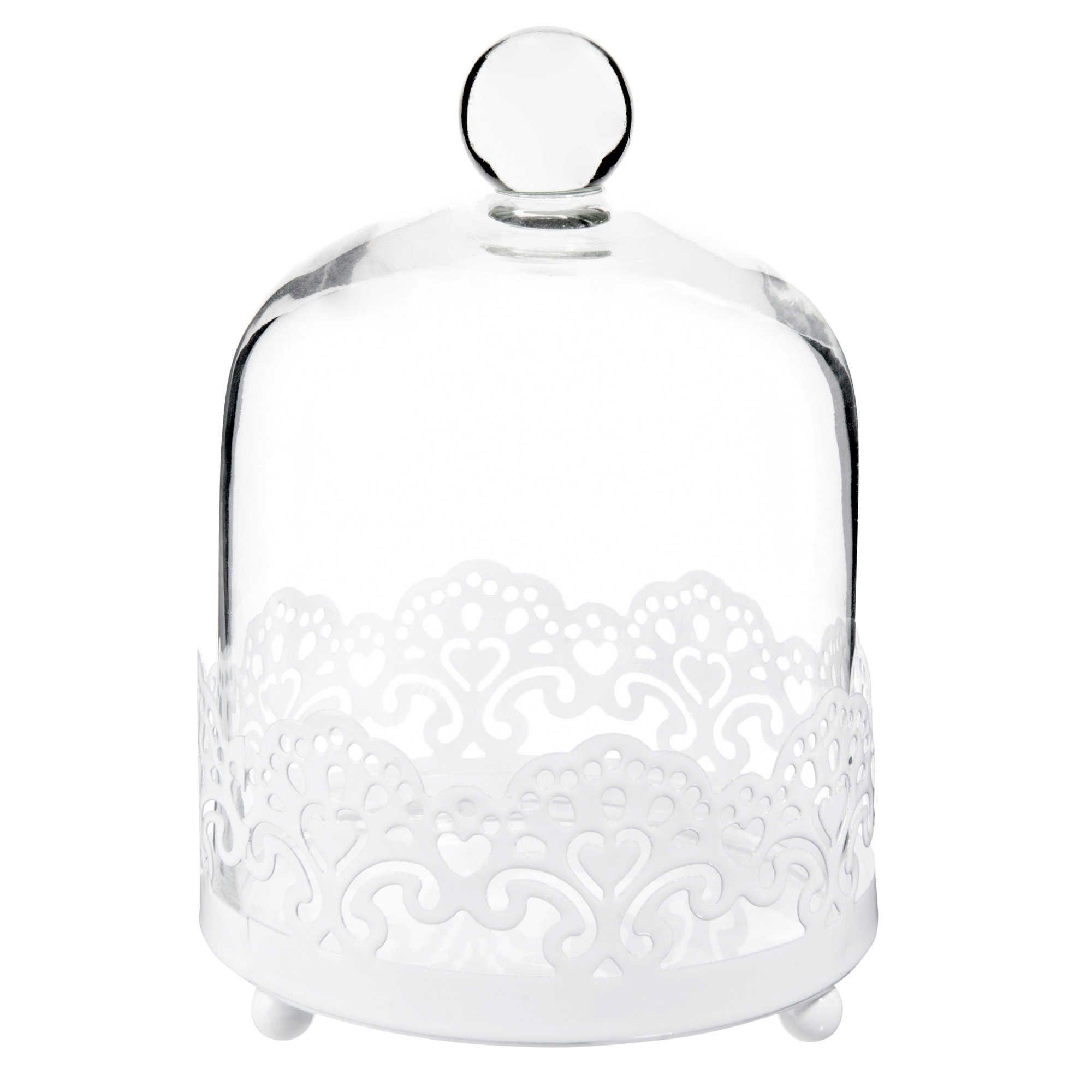 cloche en verre et mtal blanc h cm dentelle maisons du monde with verres maison du monde. Black Bedroom Furniture Sets. Home Design Ideas