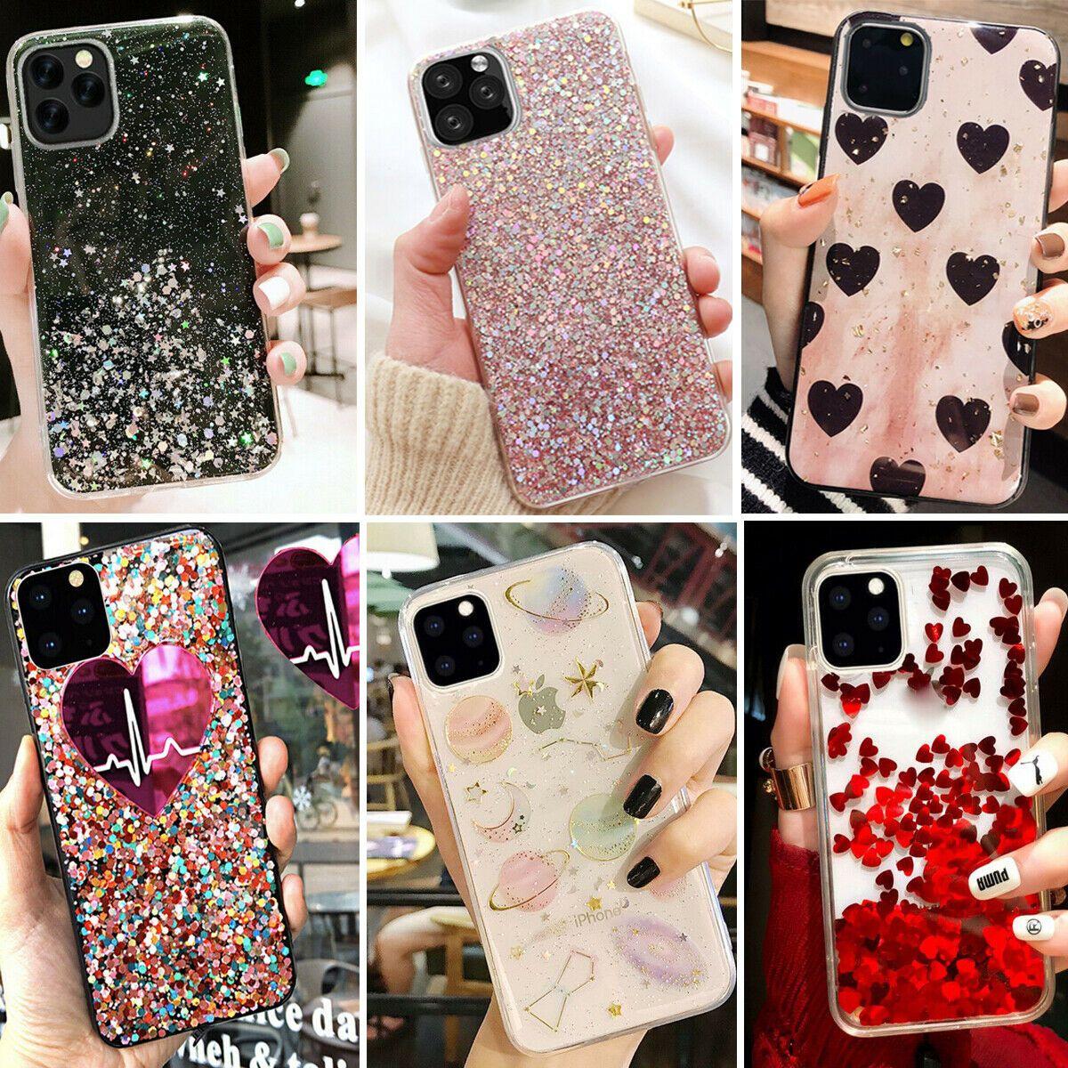 F Iphone 11 Pro Max 8 Plus 7 Xs Max Xr Cute Bling Glitter Girls Women Case Cover Sparkle Phone Case Glitter Iphone 6 Case Black Iphone Cases