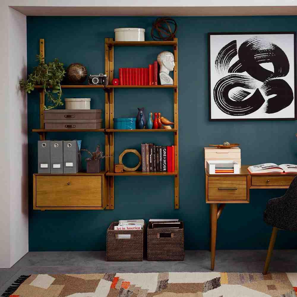 shelves  mid century modern living room decor mid