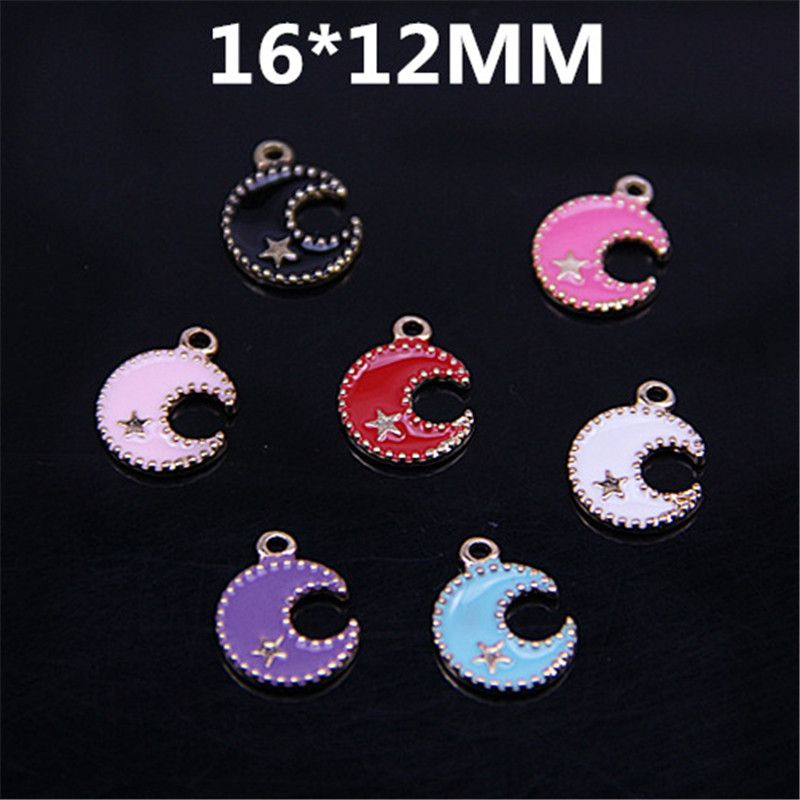 >> Click to Buy << 6pcs/lot Fashion Enamel Charms Pendants Lovely Moon with 1 Ring Metal Jewelry Findings #Affiliate
