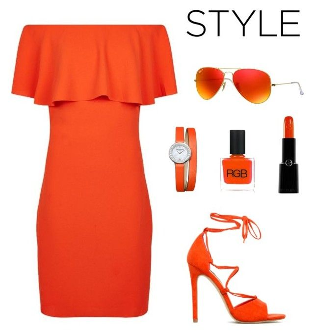 """""""Orange Off Shoulder dress"""" by iamniharika ❤ liked on Polyvore featuring Reiss, Giorgio Armani, RGB Cosmetics, Baume & Mercier, Ray-Ban, dress, hot, weather and offshoulder"""